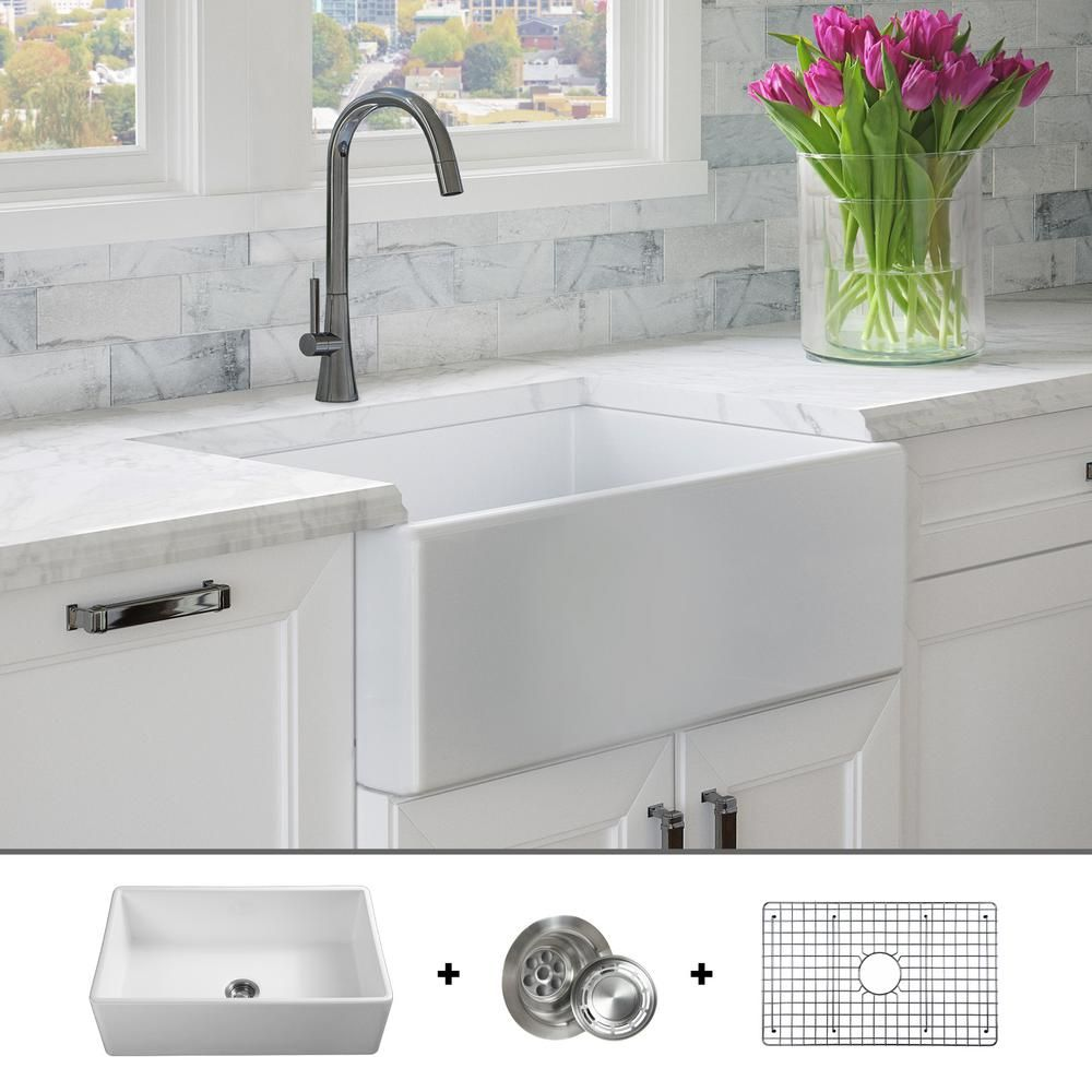 Fossil Blu Luxury 30 Inch Fine Fireclay Modern Farmhouse Kitchen Sink In White Single Bowl Flat Front Includes Grid And Drain Fsw1001 The Home Depot Farmhouse Sink Kitchen Modern Farmhouse Kitchens