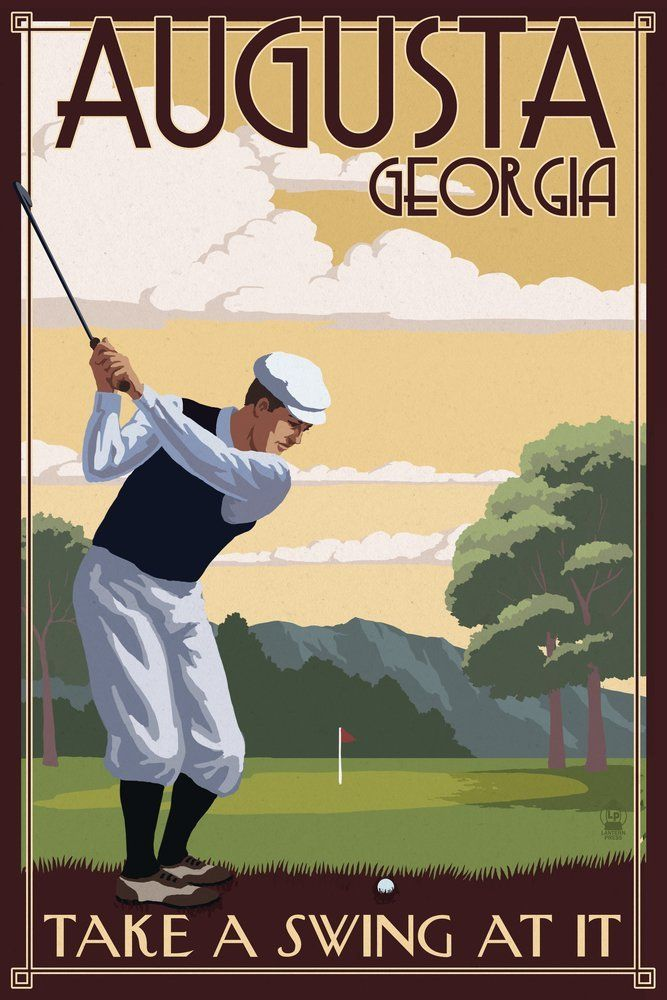 Amazon.com: Augusta, Georgia - Take a Swing at It (12x18 Collectible ...