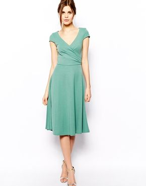 Image 1 of ASOS Midi Skater Dress With Full Skirt And Wrap Front ... d4ebdd446