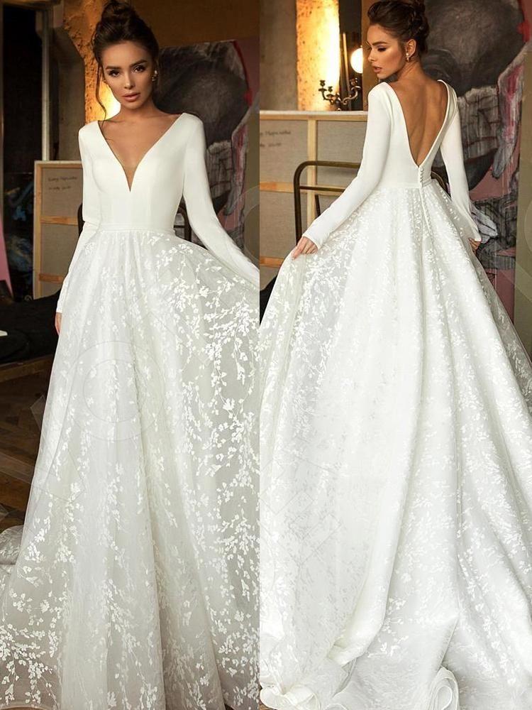 onlybridals Vintage Long Sleeve Lace Satin Wedding Dress Sexy Deep V Neck Backless Bride Dress for Wedding #branddresses