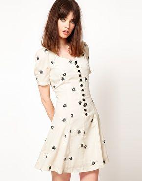 Nishe Sweetheart Tea Dress with Diamond Heart Embroidery, $74.54 at Asos.