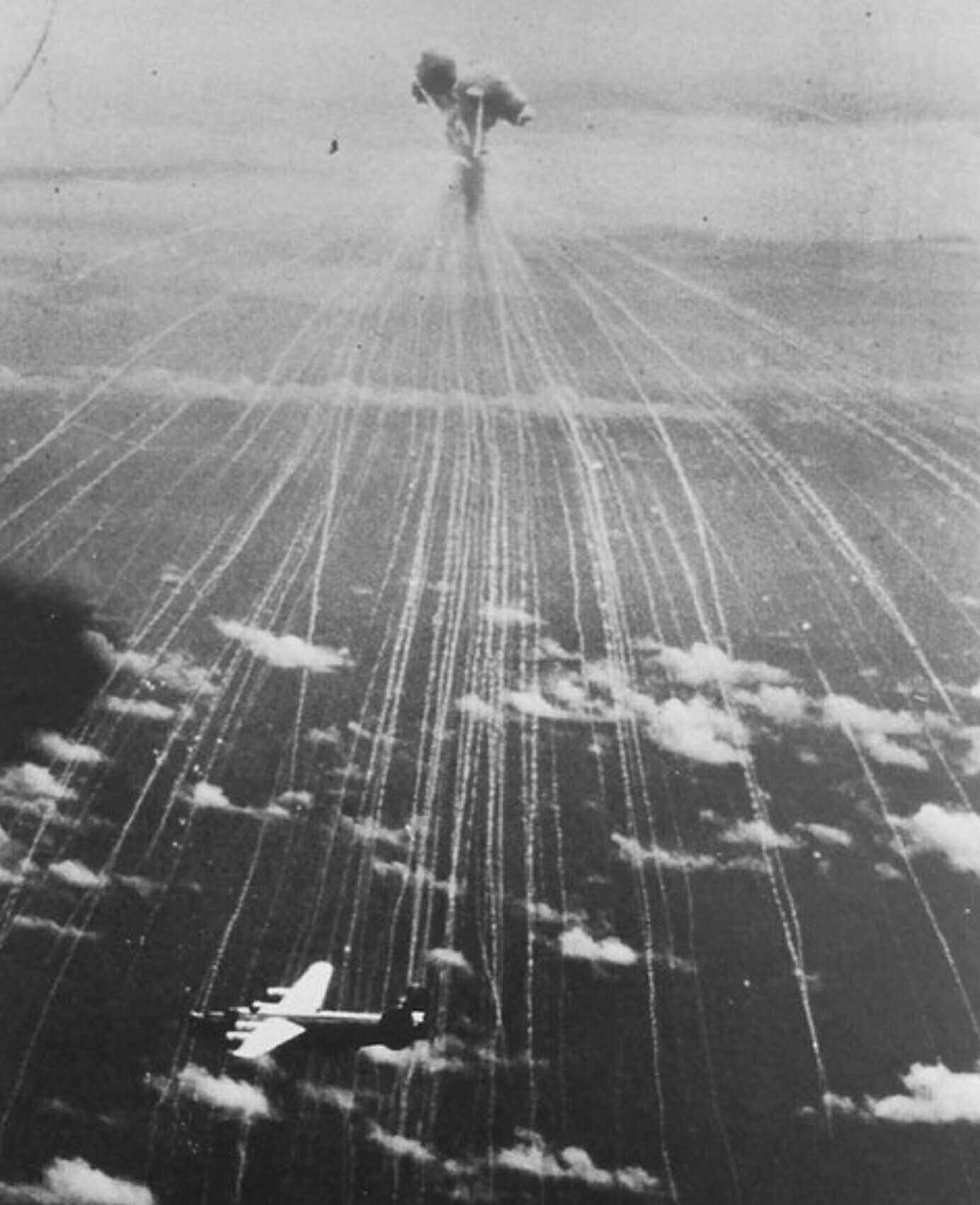 explosion of a japanese anti aircraft phosphorus bomb  type 99  kai 3  model 3  exploding over
