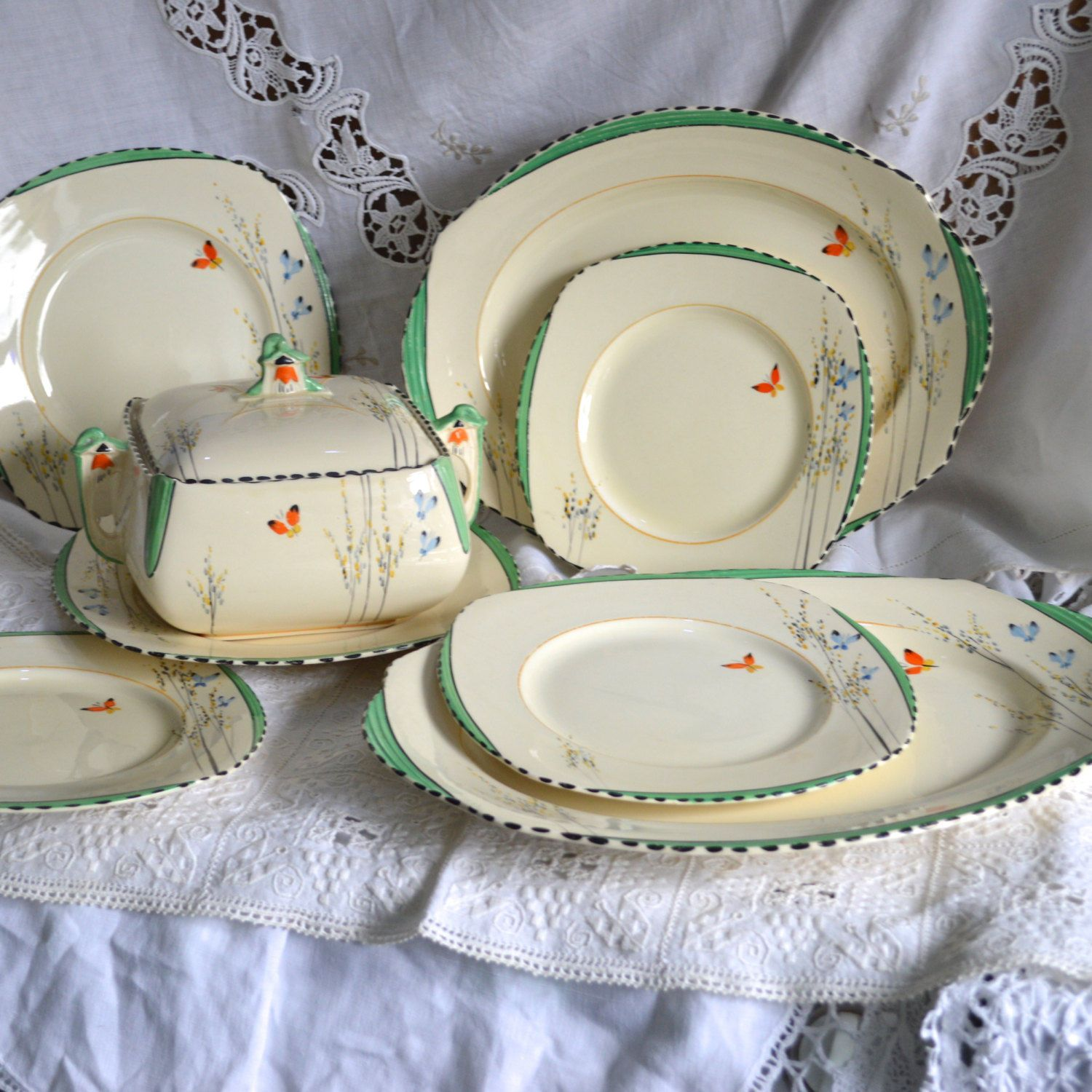 RESERVED for Frederico- Rare Art Deco Burleigh Ware 5 Assorted Size Plates - Imperial Shape- Butterfly and Bell Flowers - 5090 & Art Deco Burleigh Ware Imperial Lidded Tureen Butterfly and Bell ...