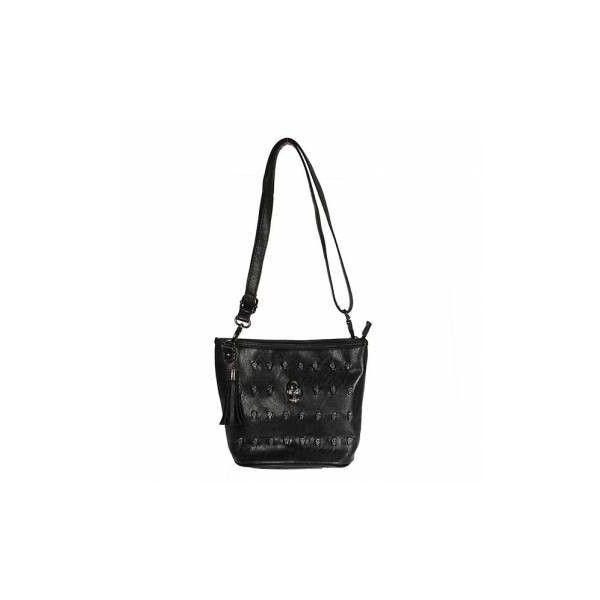 Skull Rivet Black PU Leather Shoulder Bag ($7.20) ❤ liked on Polyvore featuring bags, handbags, shoulder bags, as picture, other, crossbody purse, black crossbody purse, black cross body purse, skull handbag and zipper handbag