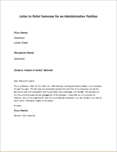 Letter To Refer Someone For An Administrative Position Download At