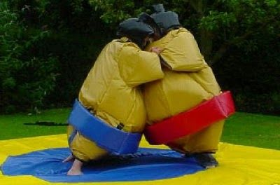 Crazy games for kids and adults! Sumo suits, velcro sticky