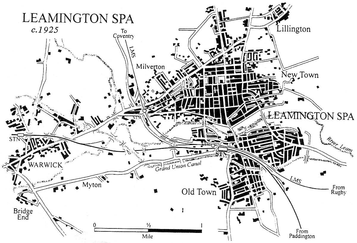 A 1925 map of Leamington showing the GWR and LNWR railway