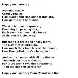 image result for funny anniversary poem from daughters to parents