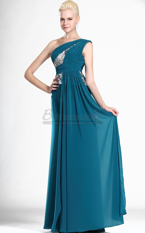 Bridesmaiddresses ocean blue chiffon long one shoulder bridesmaid