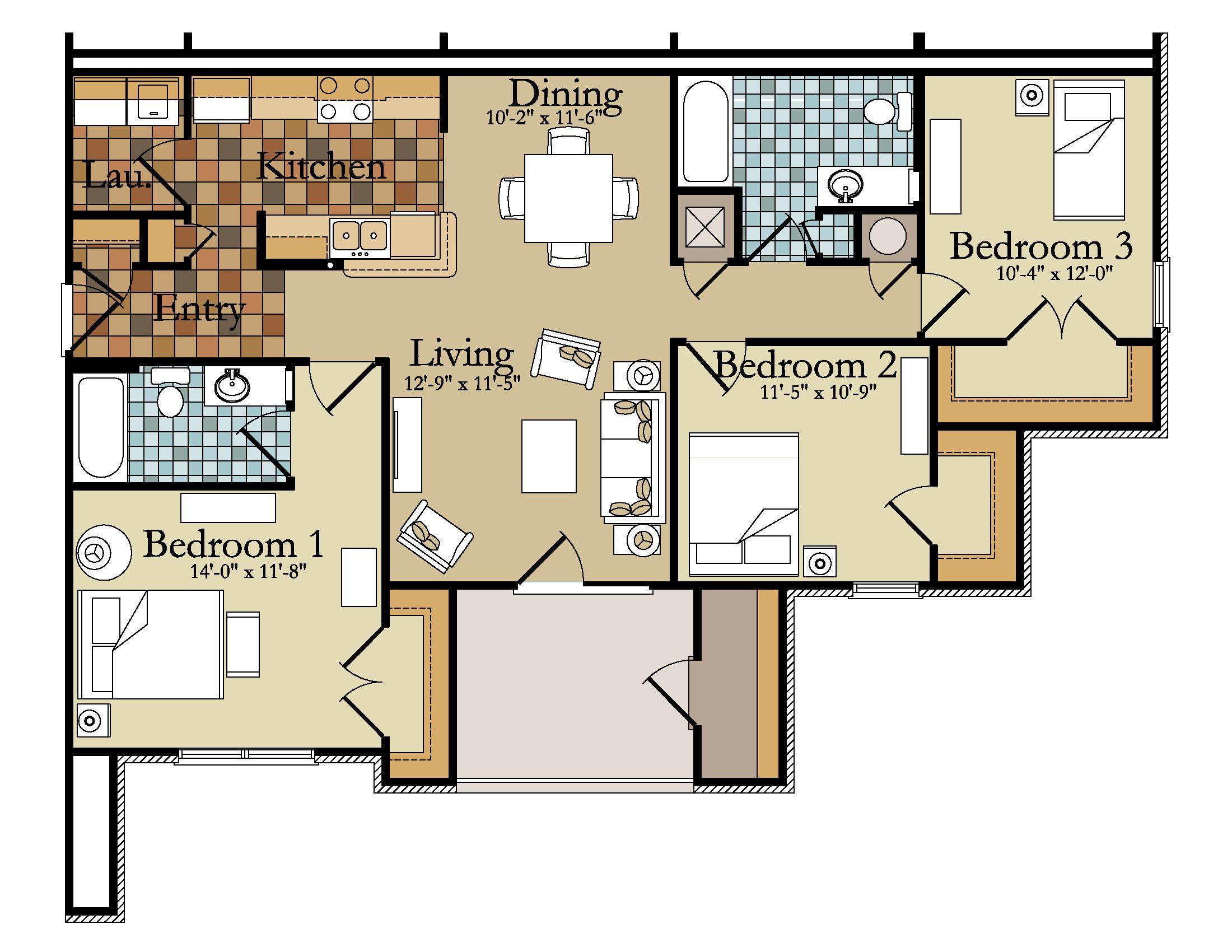 inspiring 3 bedroom apartment floor plan and contemporary design