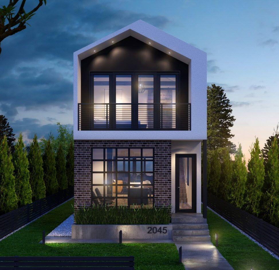 Dise o de moderna casa de dos pisos construida en terreno for Casas pequenas modernas