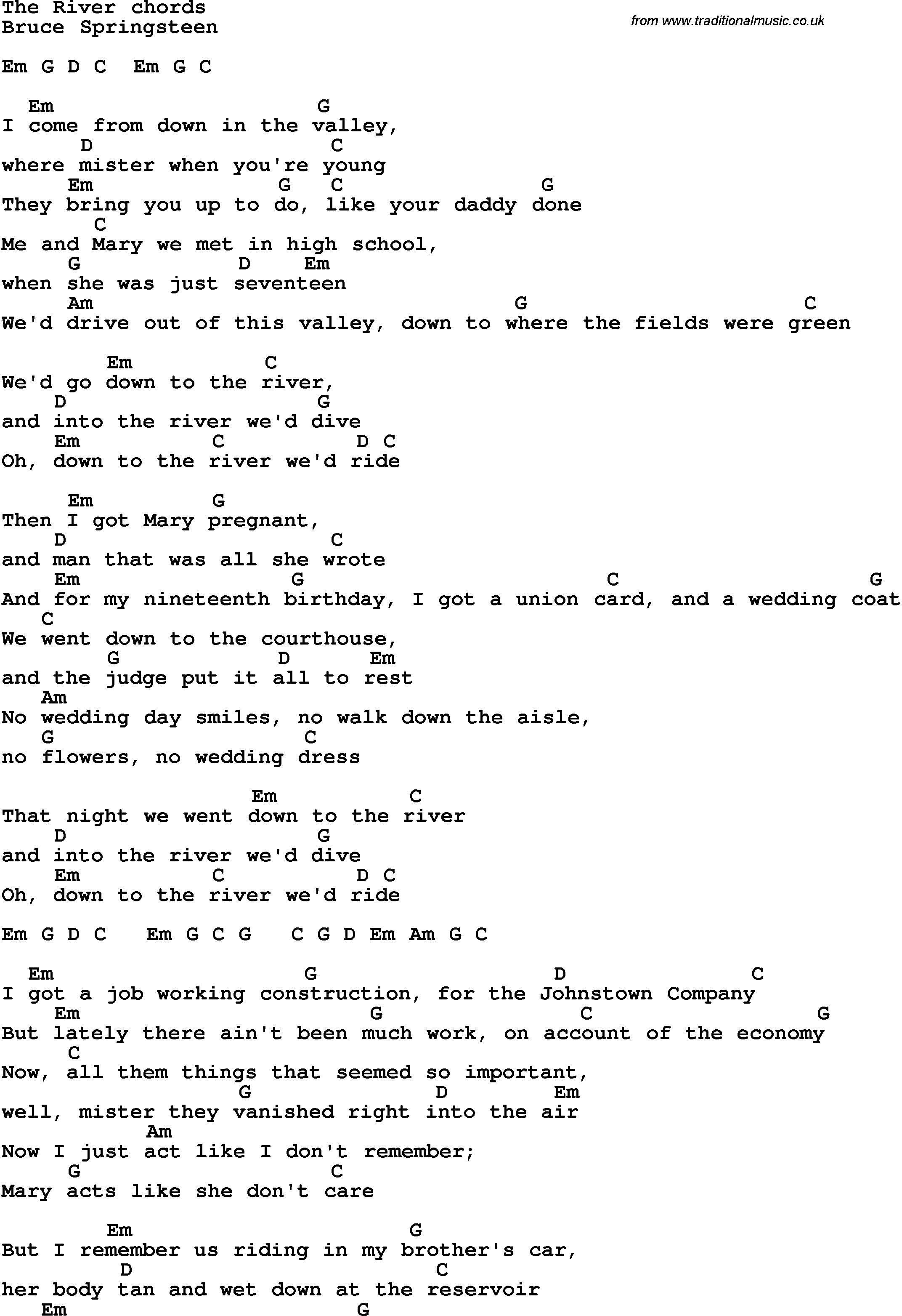 The River Bruce Springsteen Tablature Song Lyrics Pinterest