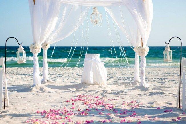 White Panama City Beach Wedding With