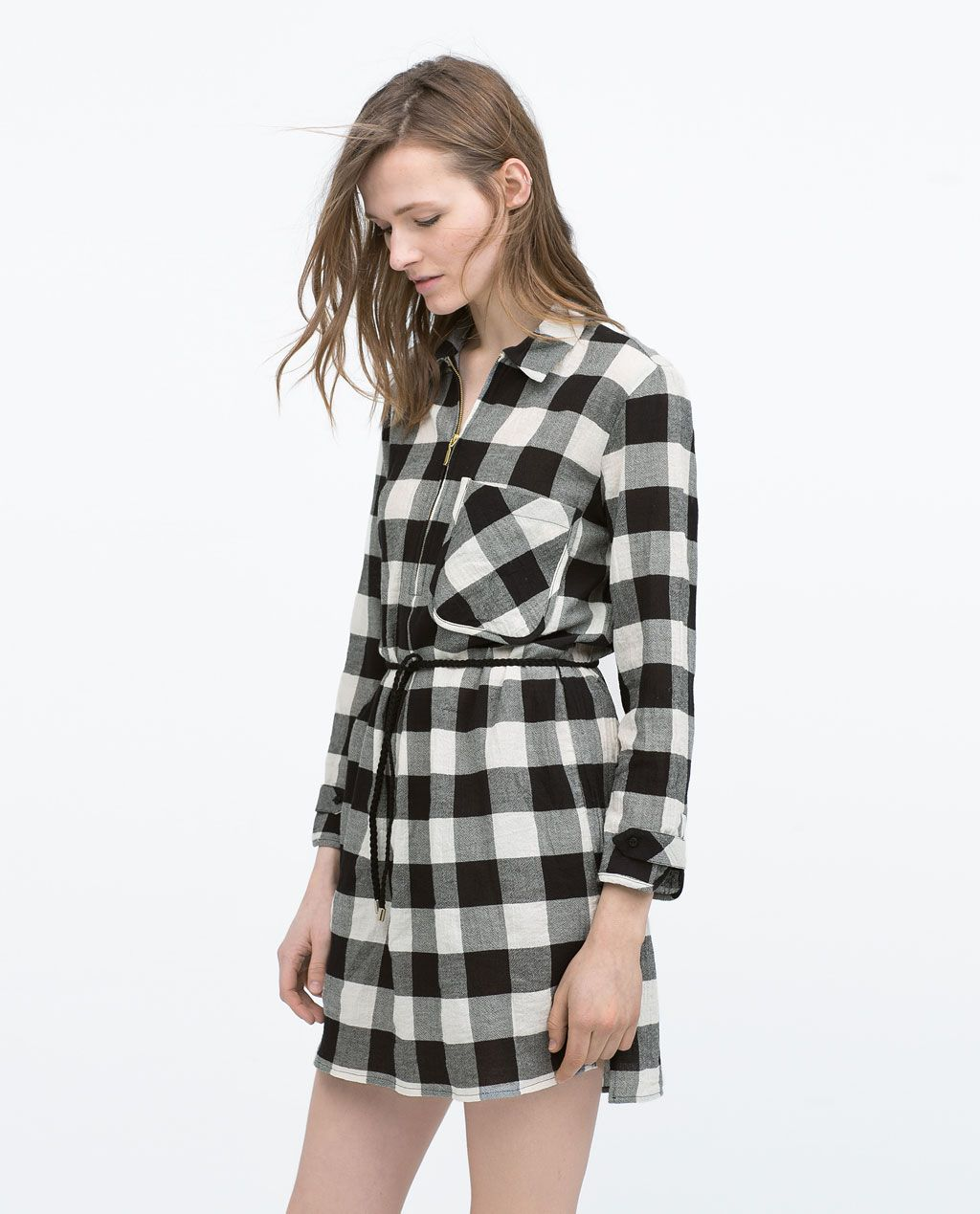 CHECKED SHIRT DRESS WITH BELT-Mini-Dresses-WOMAN  2d6aa93fbbcb
