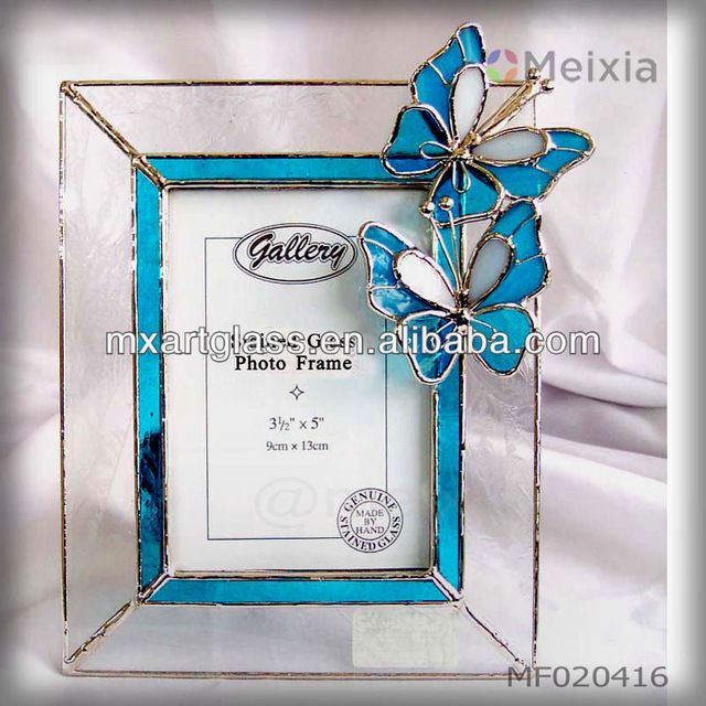 Source MF020416 butterfly tiffany stained glass photo frame wholesale for home decoration or gift sets on m.alibaba.com