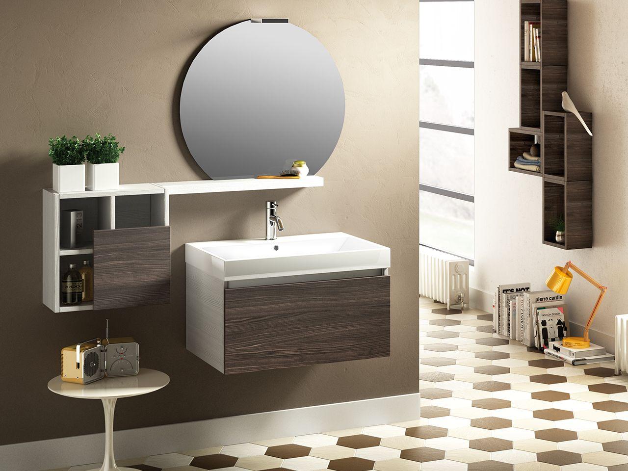 Mobile bagno qubo 70 cm 1 cassetto bianco/olmo lava con