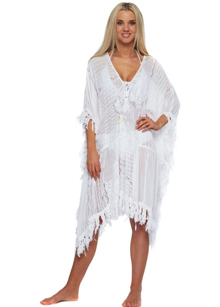 ddc74f026052c White Lace & Cotton Fringed Short Kaftan Dress | White Caftan Dress ...