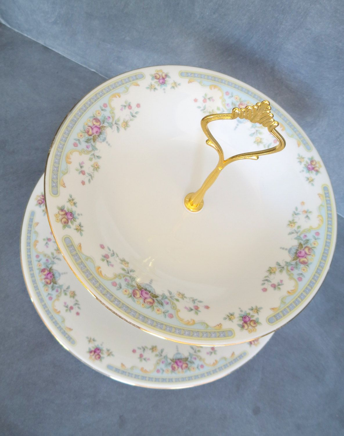 New to DancingDishAndDecor on Etsy 2 Tier Cake Plate Bridal Plate Stand Wedding Tableware | Winley China Pink Blue Gold Accents u0026 Gold Hardware (Item# ... & 2 Tier Cake Plate Bridal Plate Stand Wedding Tableware | Winley ...