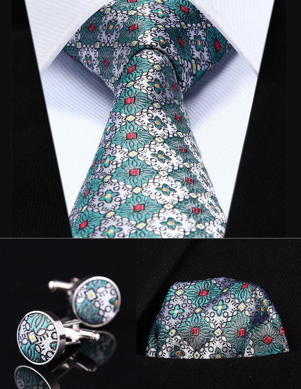 Party Wedding Classic Pocket Square Tie TZF02Q8 Green Orange Floral ...