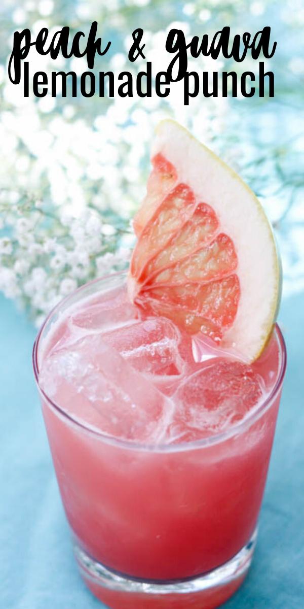 Peach & Guava Lemonade Punch- Summer Cocktail
