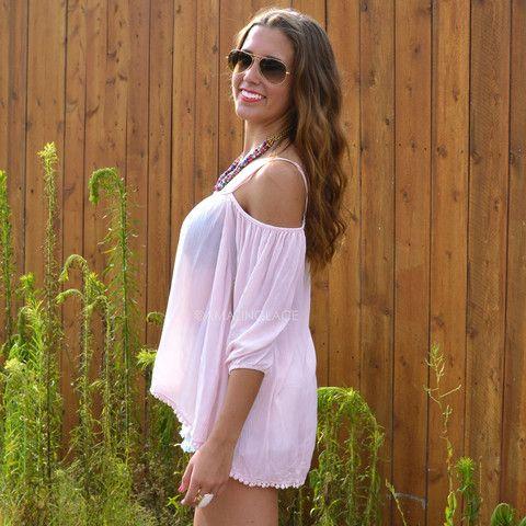 Twice Shy Light Pink Open Shoulder Blouse