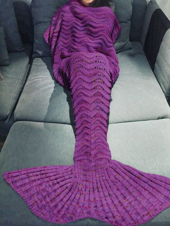 Comfortable Purple Knitted Mermaid Tail Design Blanket For Adult