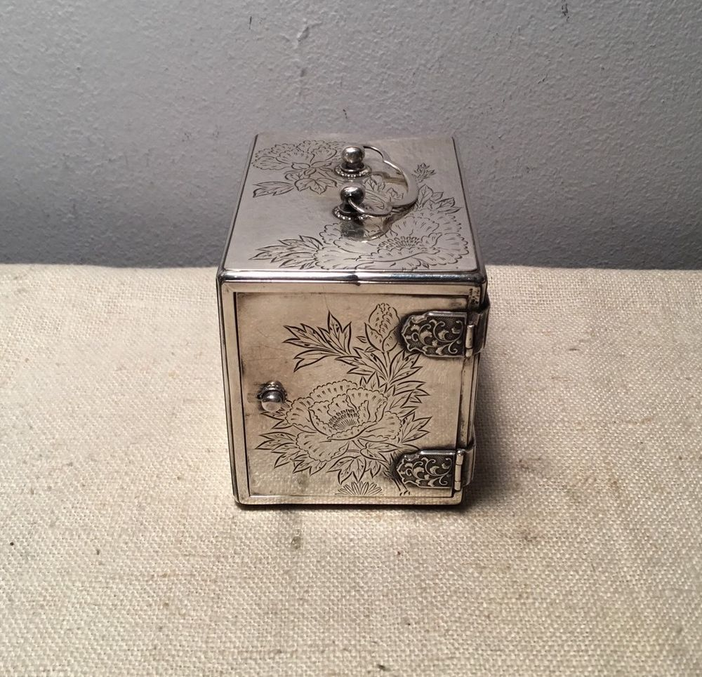 Tin bread box drawer insert - Japanese Antique 950 Sterling Silver Rare 3 Drawer Jewelry Floral Box