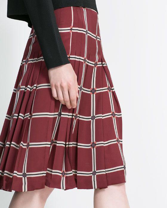 CHECK PRINT SKIRT - Skirts - Woman | ZARA United States