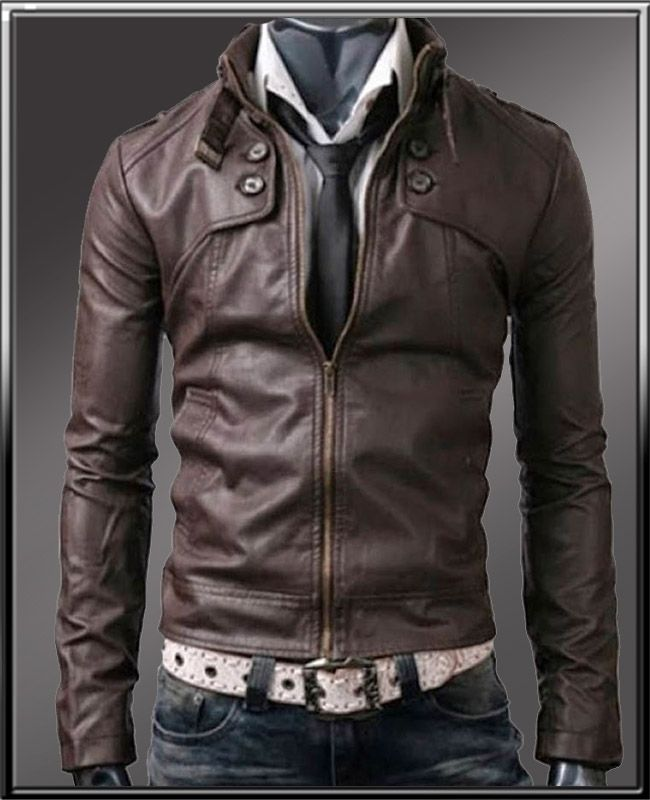 6cfa62e7 belted collar buttoned dark brown slimfit leather jacket | Best ...