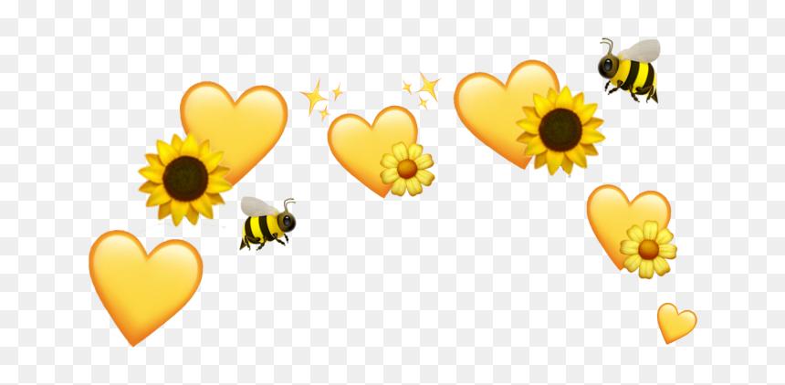 Yellow Hearts Sunflower Bee Flower Emoji Crown Yellow Heart Emoji Crown Hd Png Download Is Pure And Creative Png I Heart Emoji Yellow Heart Emoji Art