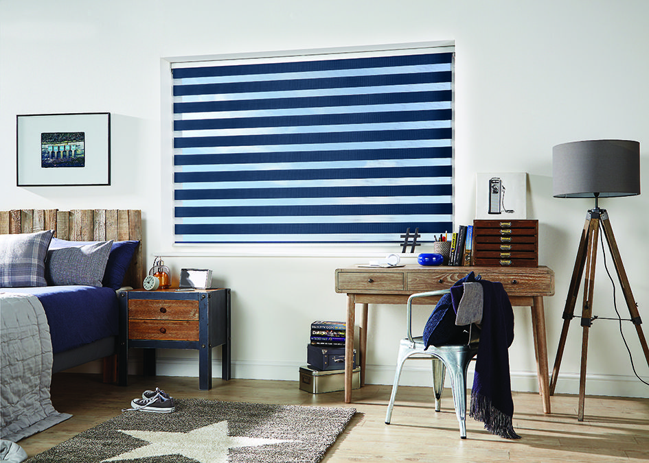 Navy Vision Blinds In A Bedroom Allowing Both Light And Privacy For The Room Visionblinds Windowblinds Int Curtains With Blinds Blinds Curtain Inspiration