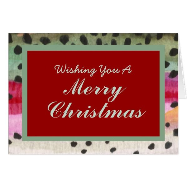 one of a kind fly fishing trout skin christmas card cards christmascard holiday