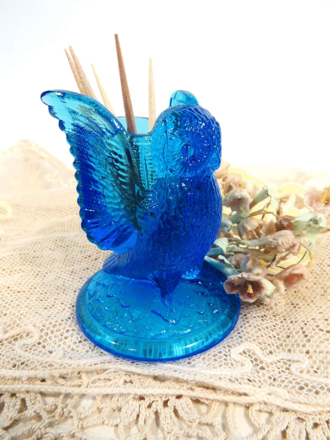Westmoreland Owl Toothpick Holder, Vintage Spread Wing Owl, Blue Crystal  Pressed Glass, Vanity Q Tip Holder, Dining Table Decor