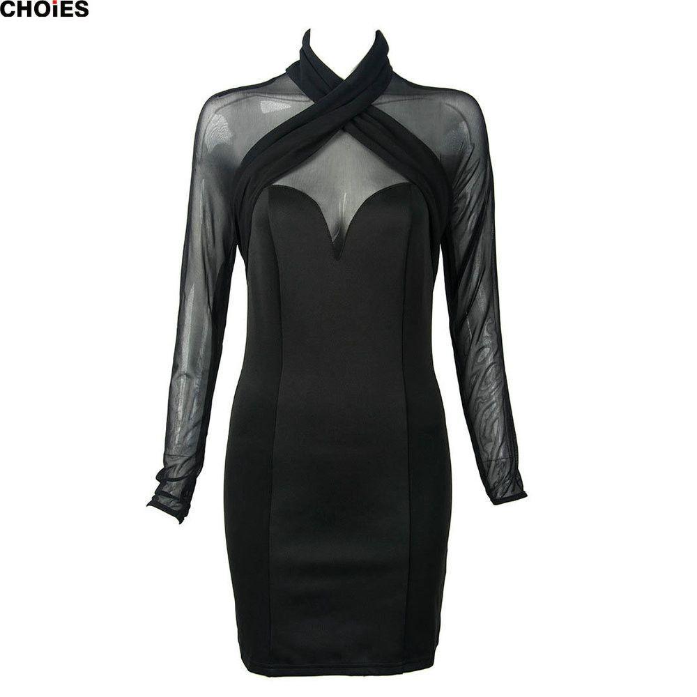 Women black cross front halter semi sheer mesh long sleeve sexy