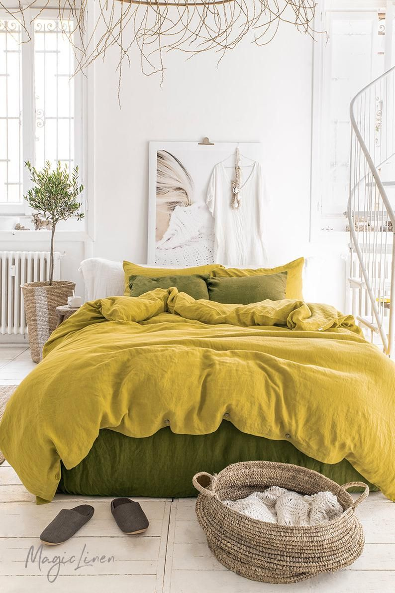 Linen Duvet Cover In Moss Yellow Washed Linen Bedding Custom Sizes Farmhouse Boho Decor In 2020 Bed Linen Design Linen Sheet Sets Yellow Bedding