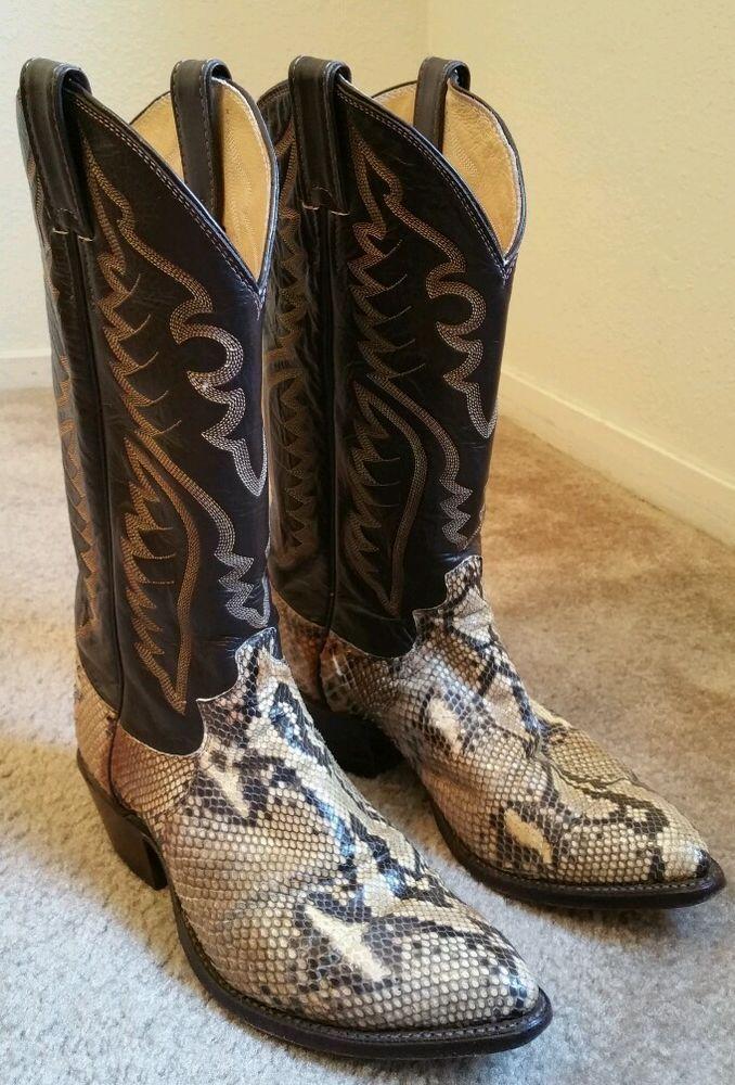 042b822a89f Justin Exotic Burmese Python Snakeskin Brown Cowboy Boots EUC 8621 ...