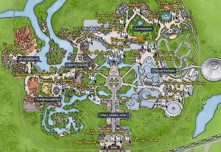 Walt Disney World, Magic Kingdom, Character Locations, Map | Magic ...