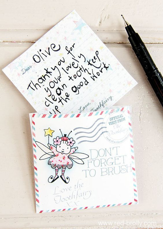 Have the tooth fairy leave a fairy-sized letter for your kid. #toothfairyideas