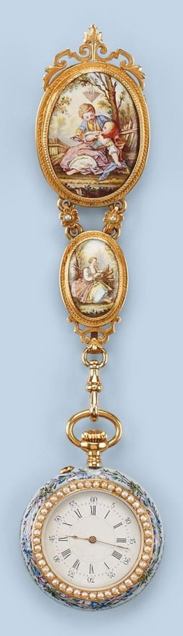 AN ANTIQUE ENAMEL GOLD POCKET WATCH AND CHATELEINE - The pocketwatch with polychrome enamel decor of a couple resting, the bezel set with halfpearls, suspended from a chateleine composed of two oval polychrome enamelled panels depicting garden scenes, 19th Century.