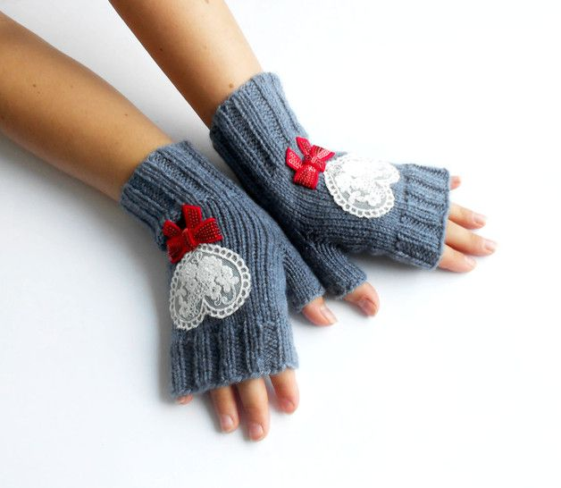 via en.dawanda.com Arm warmers – Grey Fingerless Knitted Hand Warmers, Gray gloves. – a unique product by GlovesAndMittens on DaWanda