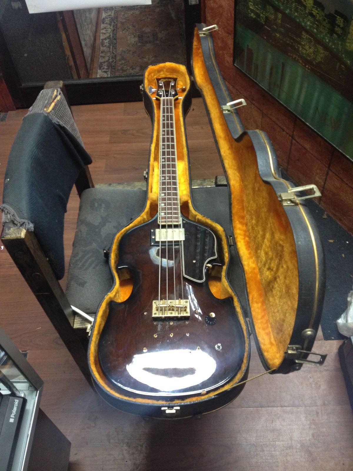 Vintage Rare 1969 Univox Lectra Violin Bass Guitar 1970f Orig Hard Shell Case Bass Guitar Bass Guitar