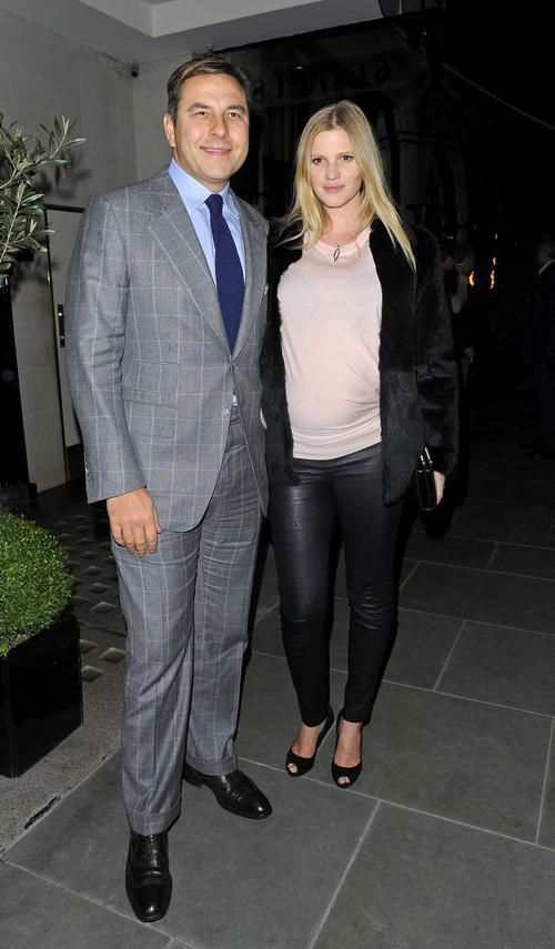 David Walliams and pregnant wife Lara Stone leaves Scott's Restaurant of Mayfair, London