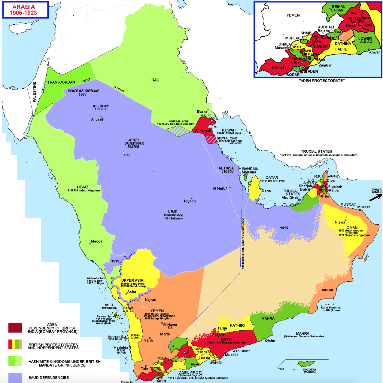 F2 What Saudi Arabia and its neighbors looked like 100 years ago