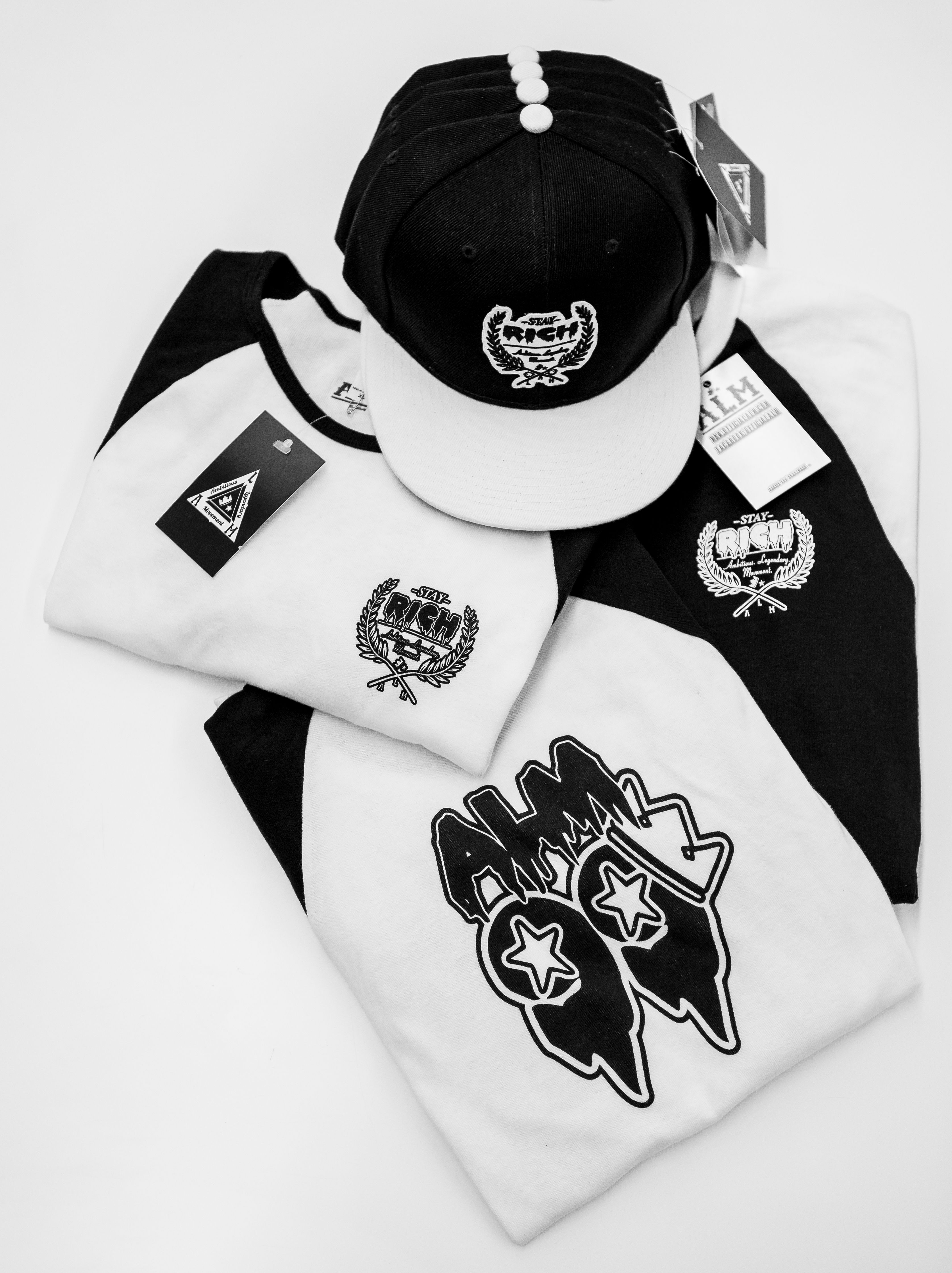 ALM BLACK TRILL EDITION BLACK AN WHITE 3/4 BASE BALL SHIRT $22  SNAP BACK $25 #LAfresh1 #officialalm www.officialalm.com www.facebook/officialalm.com