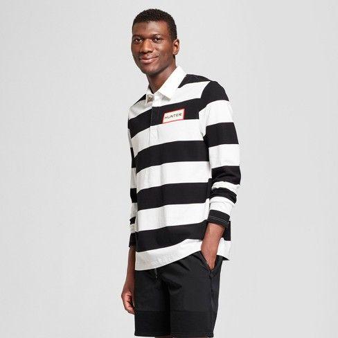 2a6e5c9063e Hunter for Target Men s Long Sleeve Rugby Stripe Polo Shirt - White   Target