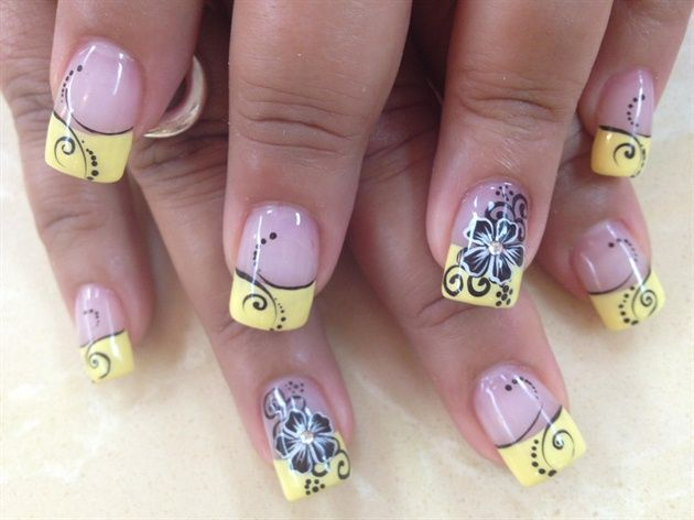 Yellow Tips W Black Flower Designs Nails