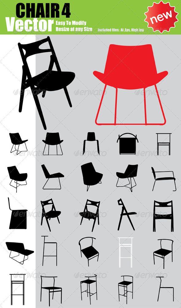 Vector Chair Silhouette Set Chairs Logo Chair Silhouette