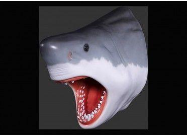 Troph e mural design t te de requin en r sine texartes for Objet decoration hippopotame