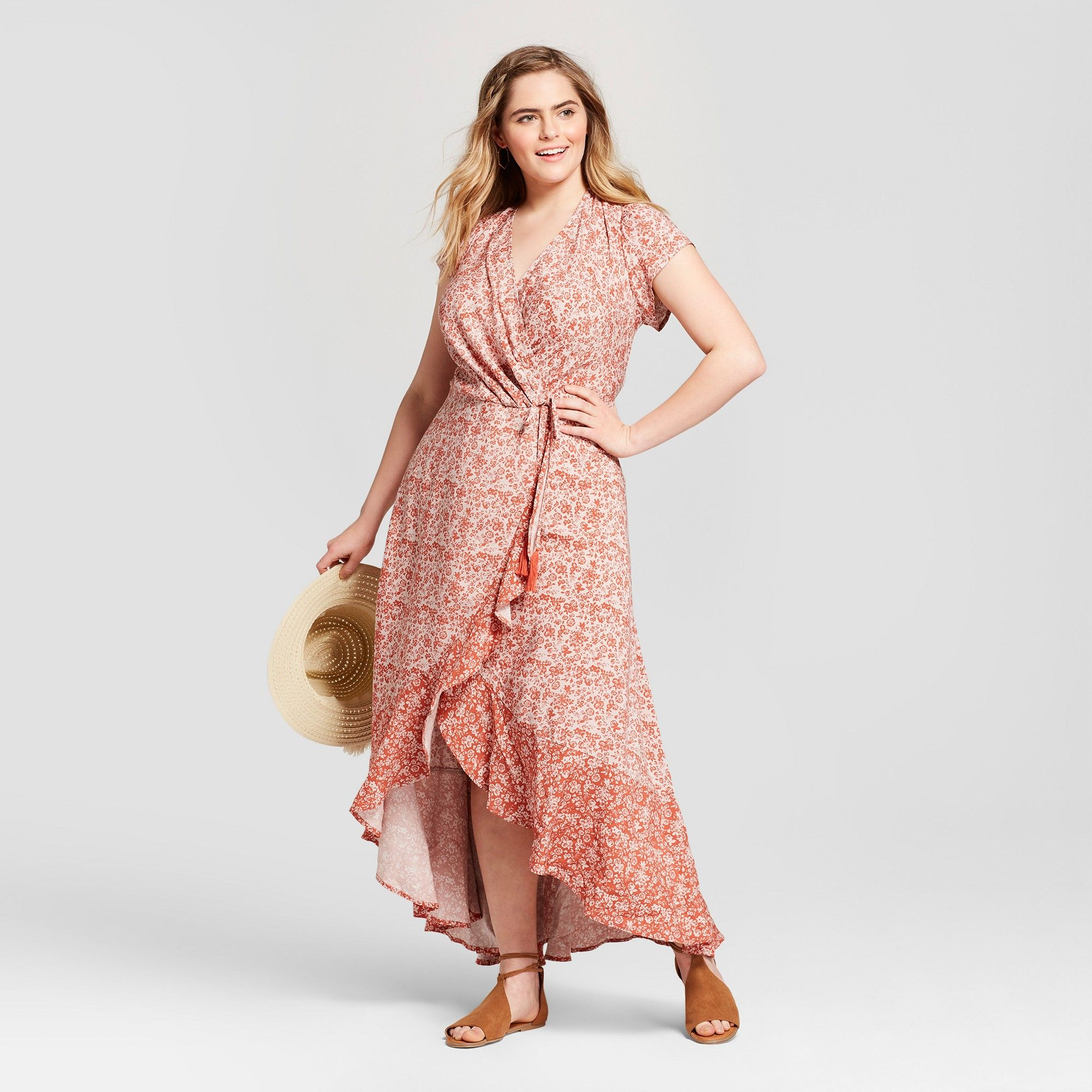 cfe28ec9b364a Women's Plus Size Floral Print V-Neck Maxi Dress - Xhilaration Pink ...