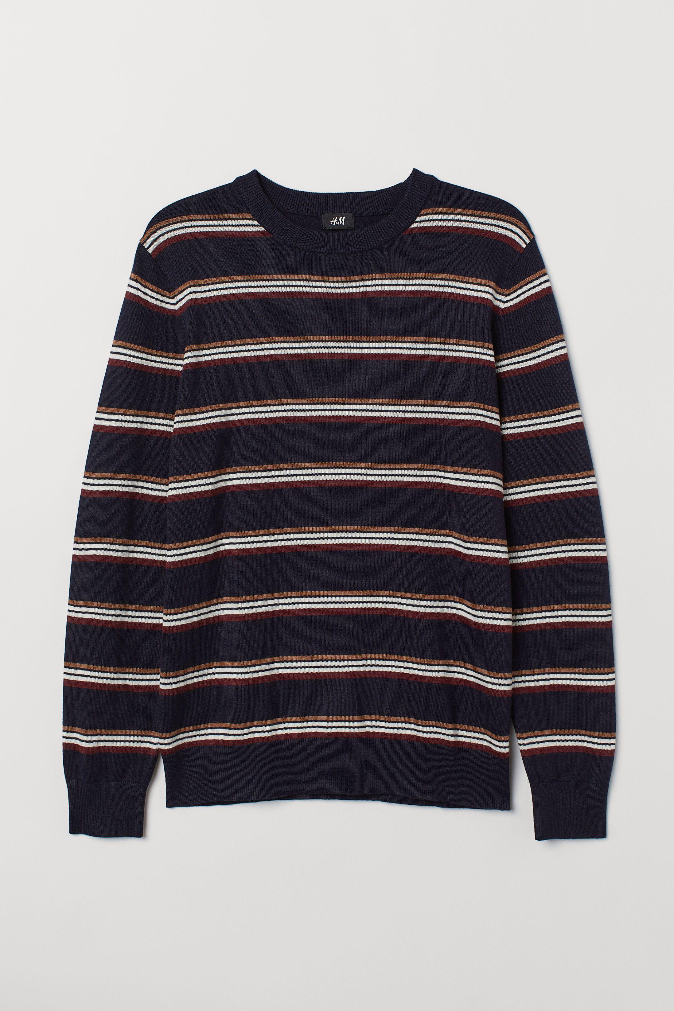 H&m Jumper Kent R-Neck Sweater Blue Polyamid/visko
